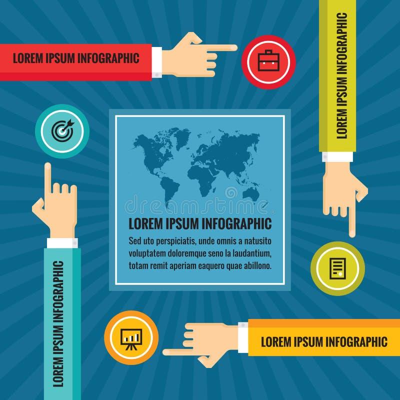 As mãos, mapa do mundo e ícones humanos - vector a ilustração no projeto liso do estilo para a apresentação, a brochura, o Web si ilustração royalty free
