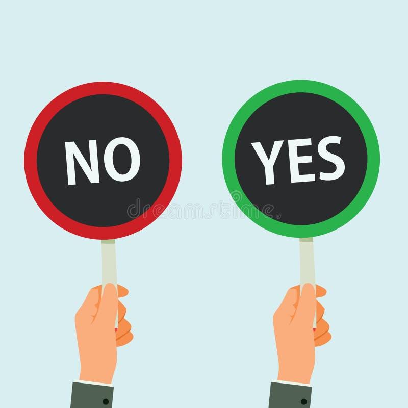 As m?os n?o guardam o quadro indicador sim e a nenhuma ilustra??o do vetor ilustração royalty free