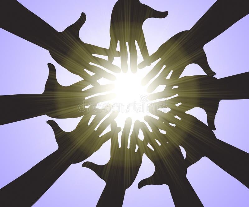 As mãos no céu significam a palma Sunny And Intimacy ilustração royalty free