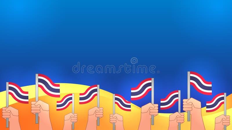 As mãos obtêm a bandeira tailandesa fotografia de stock
