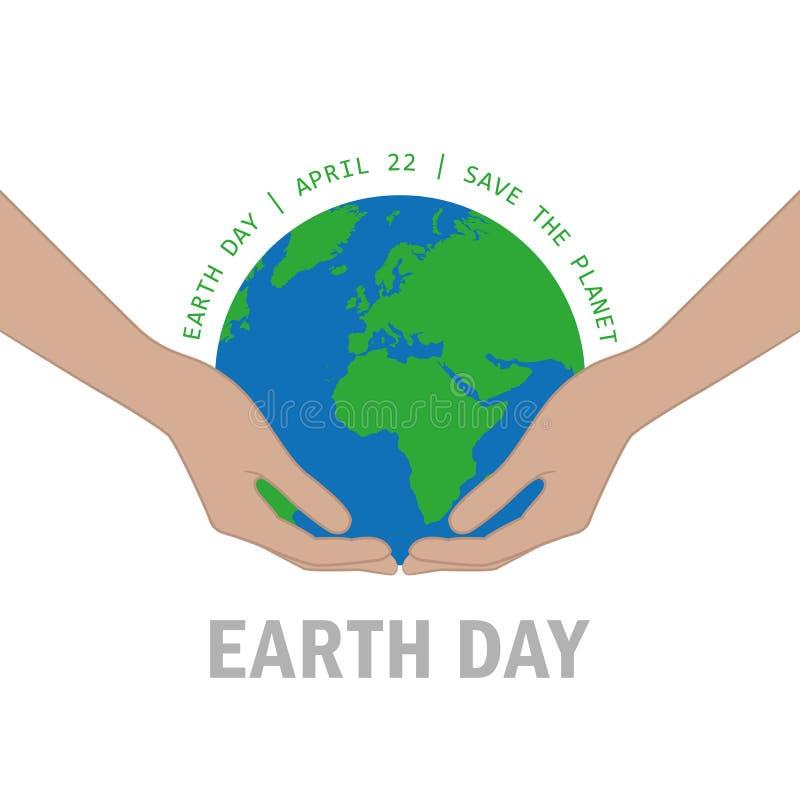 As mãos protegem o Dia da Terra da terra o 22 de abril salvo o conceito do planeta ilustração do vetor
