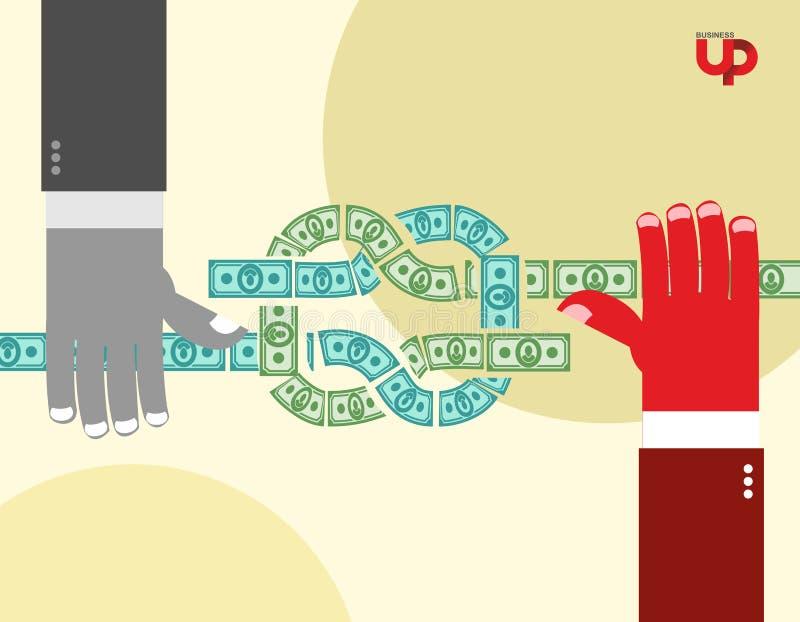 As mãos puxaram o dinheiro nó Fluxo de caixa Ilustração do negócio ilustração do vetor