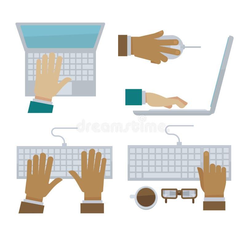 As mãos que datilografam no teclado do portátil e de computador vector ícones lisos ilustração royalty free