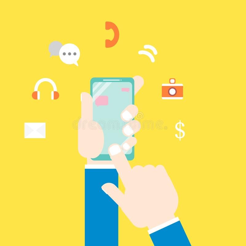 As mãos que guardam o telefone esperto com grupo do ícone ilustração do vetor