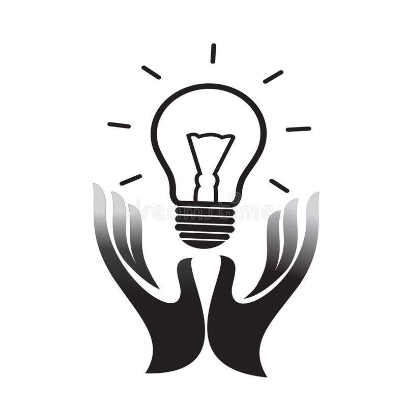 As mãos que guardam o vetor do ícone do bulbo da ideia, encheram o sinal liso, pictograma contínuo isolado no branco Ideia que co ilustração do vetor