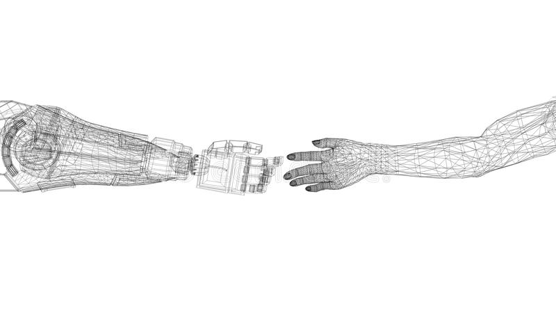 As mãos robóticos e humanas projetam - arquiteto Blueprint - isolado ilustração stock