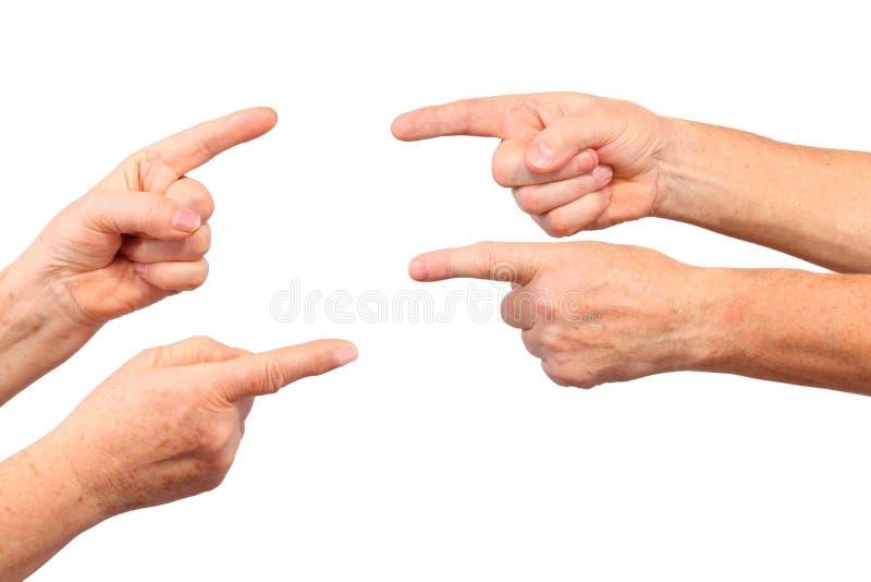 As mãos sênior mostram o gesto do forefinger imagens de stock royalty free