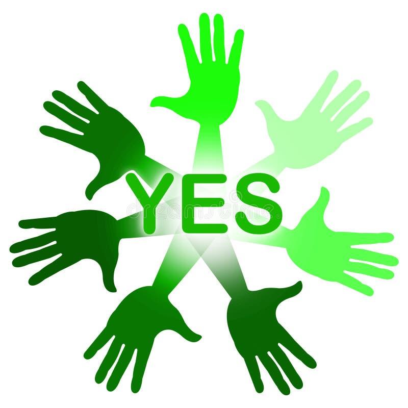 As mãos significam sim a concordância de O K E afirme ilustração royalty free