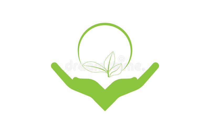 As m?os importam-se a folha verde Logo Template da ecologia - cuidados m?dicos naturais do alimento biol?gico fresco verde do Log ilustração do vetor