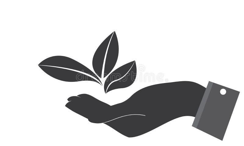 As m?os importam-se a folha verde Logo Template da ecologia - cuidados m?dicos naturais do alimento biol?gico fresco verde do Log ilustração royalty free