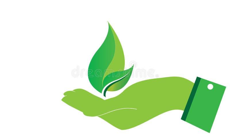 As m?os importam-se a folha verde Logo Template da ecologia - cuidados m?dicos naturais do alimento biol?gico fresco verde do Log ilustração stock
