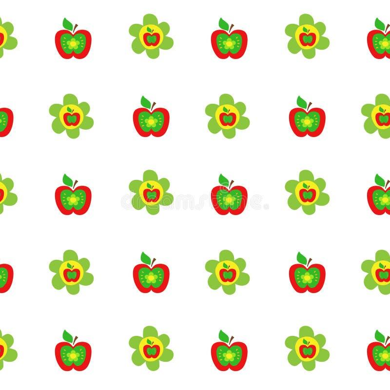 As maçãs coloridas do teste padrão botânico sem emenda florescem o estilo das crianças, tela, scrapbooking, estofando, papel de e ilustração stock