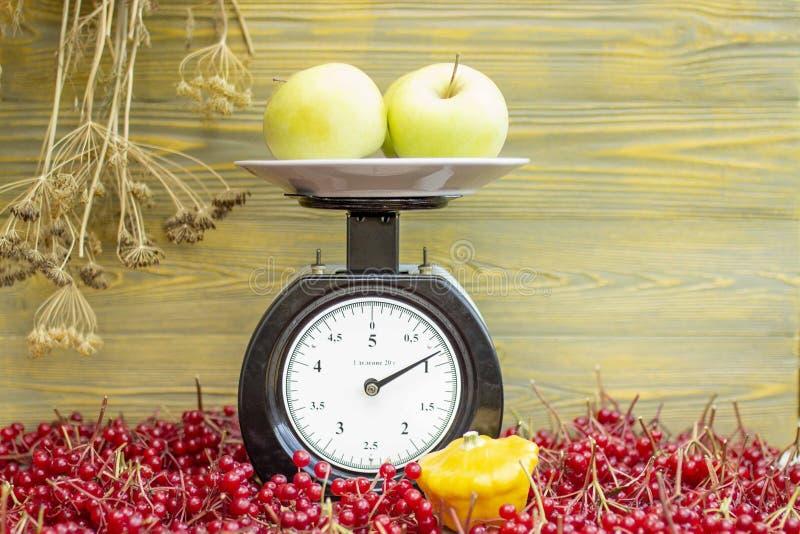As maçãs encontram-se nas escalas imagens de stock royalty free