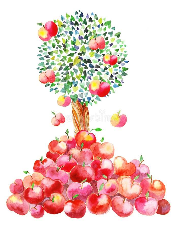 As maçãs estão caindo para baixo ilustração do vetor