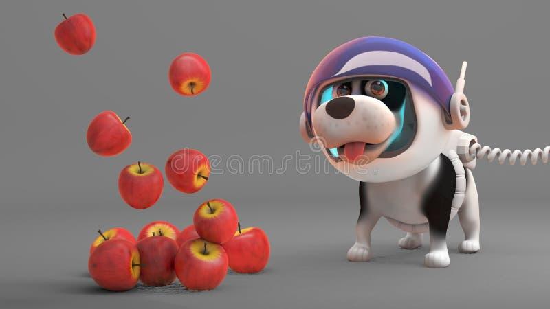 As maçãs flutuam para baixo do espaço à perplexidade do cão do espaço, ilustração 3d ilustração do vetor