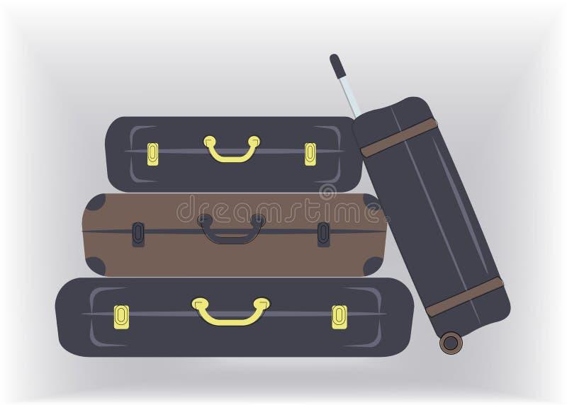 As malas de viagem à moda do curso, caixas no marrom e cores da marinha, estão prontas para férias ao beira-mar ou ao país ou par ilustração do vetor