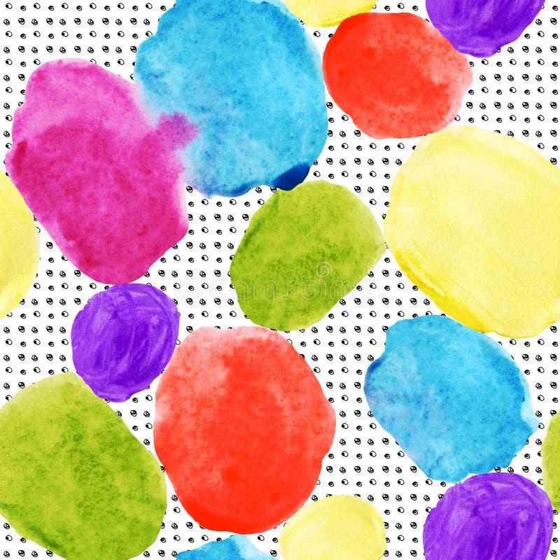 As manchas coloridas e o grunge da aquarela texture o teste padrão sem emenda ilustração do vetor