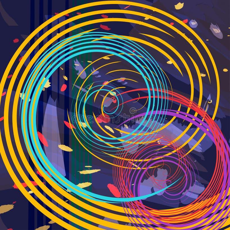 As manchas coloridos abstratas, espirram e o fundo dos swirles VE ilustração royalty free