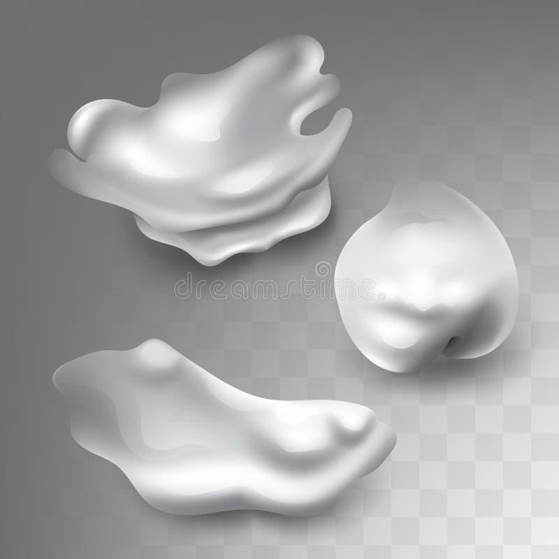As manchas realísticas ajustaram-se do creme, do leite ou da espuma branca ilustração royalty free