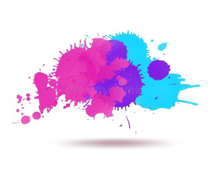 As manchas transparentes da tinta roxa e azul da cor abstraem a composição ilustração do vetor