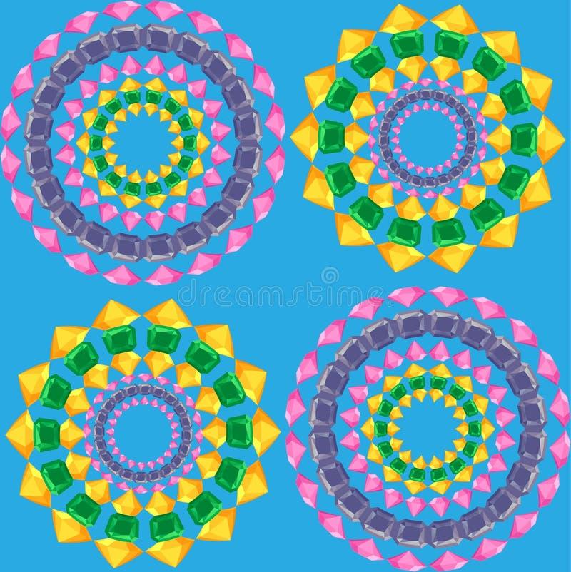 As mandalas modelam sem emenda no azul ilustração do vetor