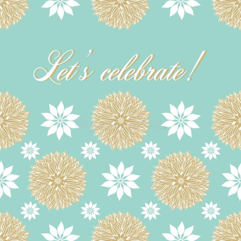 As mandalas waterlily estilizadas modernas das flores projetam em um azul pastel festivo e as cores do ouro com deixam para comem ilustração royalty free