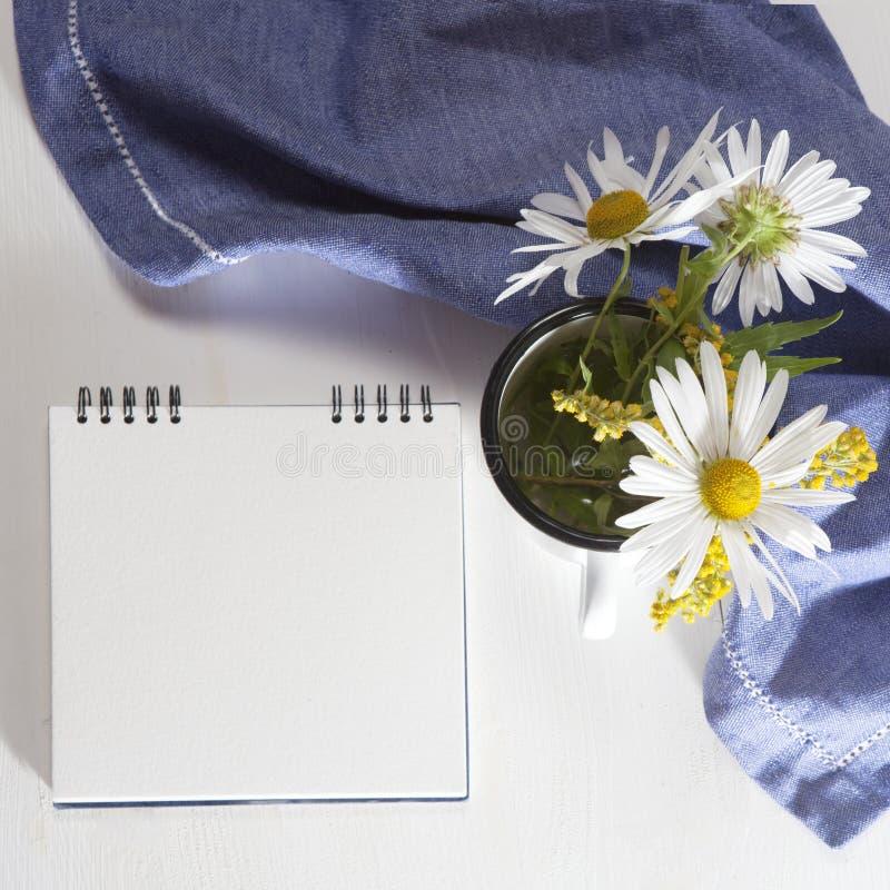 As margaridas em um esmalte branco agridem no fundo do Livro Branco fotografia de stock