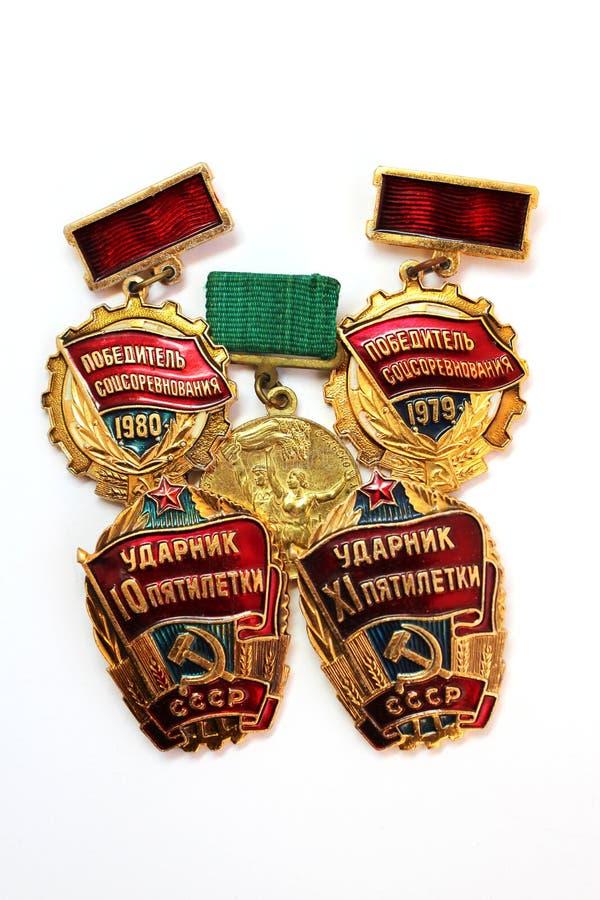 As medalhas soviéticas para o trabalho valorous imagem de stock royalty free