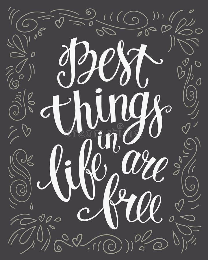 As melhores coisas na vida estão livres ilustração stock