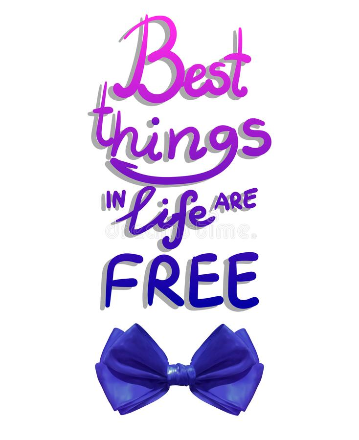 As melhores coisas na vida estão livres, rotulação do VETOR com curva azul realística ilustração stock