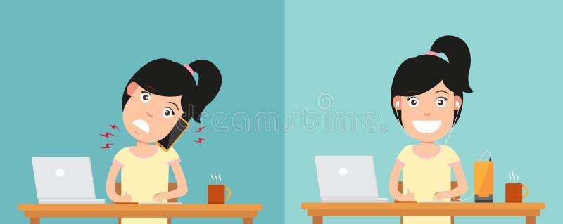As melhores e posições as mais más para falar através do telefone esperto ilustração royalty free