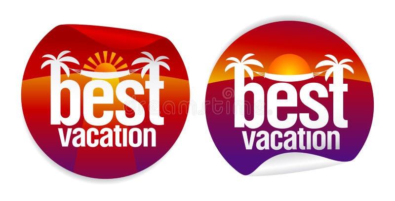 As melhores etiquetas das férias. ilustração do vetor