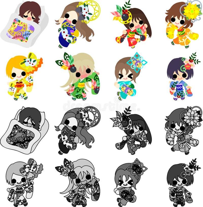 As meninas à moda no quimono (pano do estilo japonês) ilustração stock
