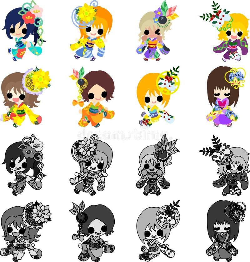As meninas à moda no quimono (pano do estilo japonês) ilustração royalty free