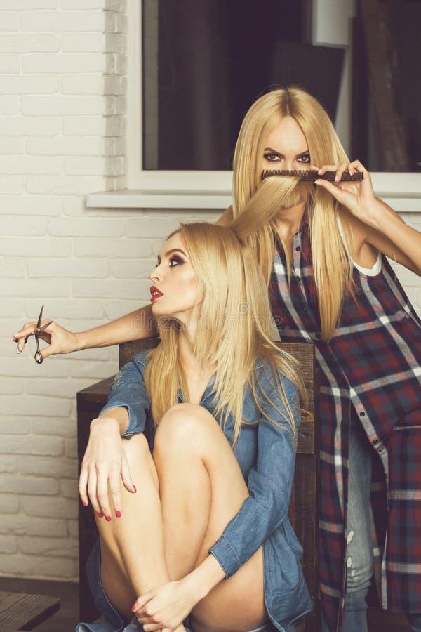 as meninas consideravelmente 'sexy' no salão de beleza, cabeleireiro fazem o penteado imagens de stock royalty free