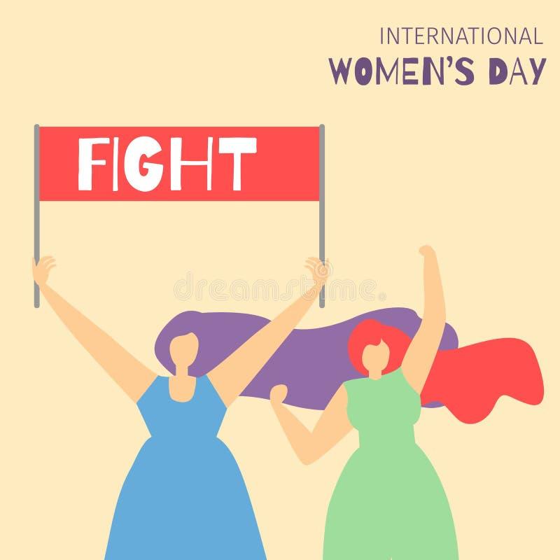 As meninas de combate dos desenhos animados motivam o cartão liso feminista ilustração stock