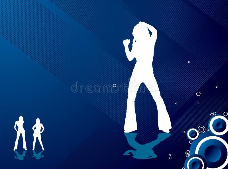 As meninas de partido fluem azul ilustração stock