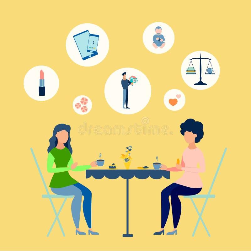 As meninas descansam em um caf? Temas de debate das mulheres No estilo minimalista Quadriculação isométrica lisa ilustração royalty free