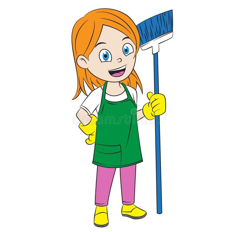 As meninas dos desenhos animados limpam a casa usando uma vassoura ilustração stock