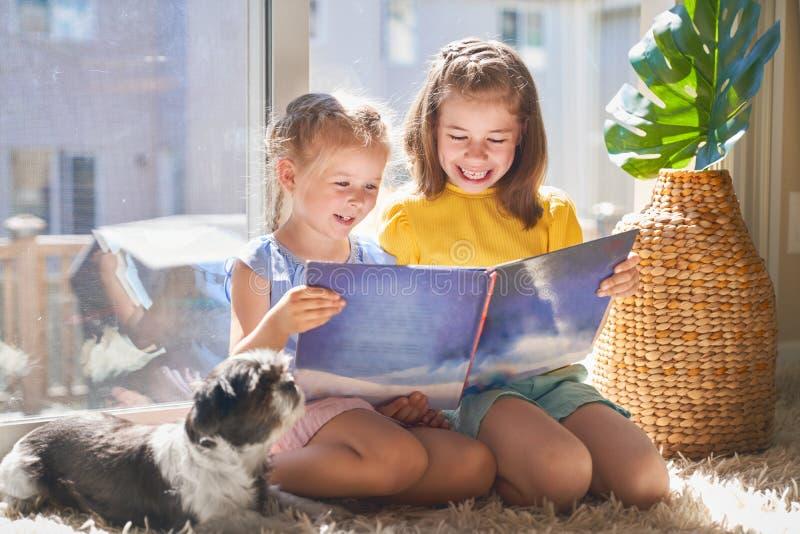 As meninas estão lendo um livro fotografia de stock
