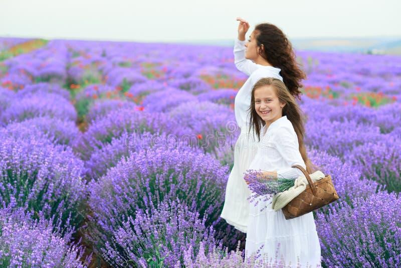 As meninas est?o no campo de flor da alfazema, paisagem bonita do ver?o fotografia de stock royalty free