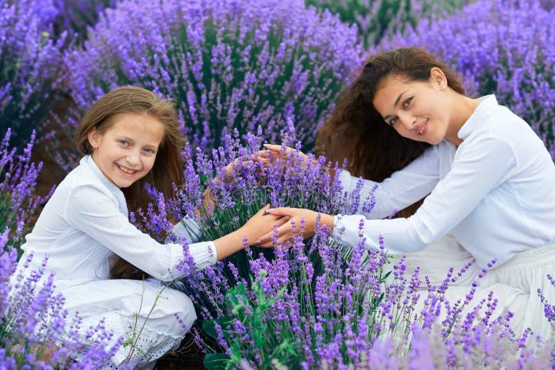 As meninas est?o no campo de flor da alfazema, paisagem bonita do ver?o fotografia de stock