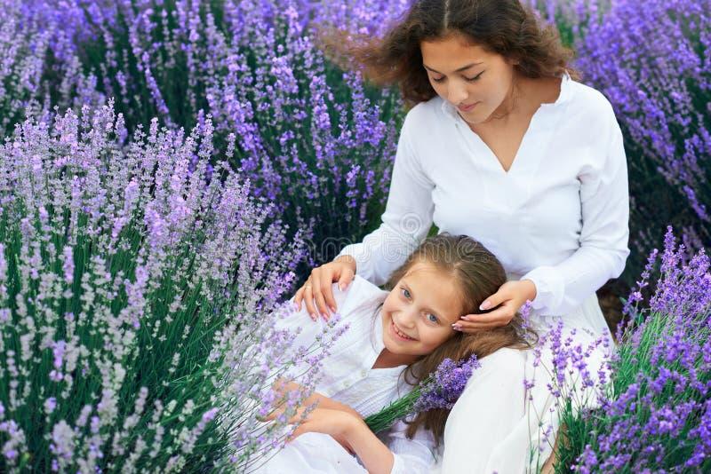 As meninas est?o no campo de flor da alfazema, paisagem bonita do ver?o fotos de stock