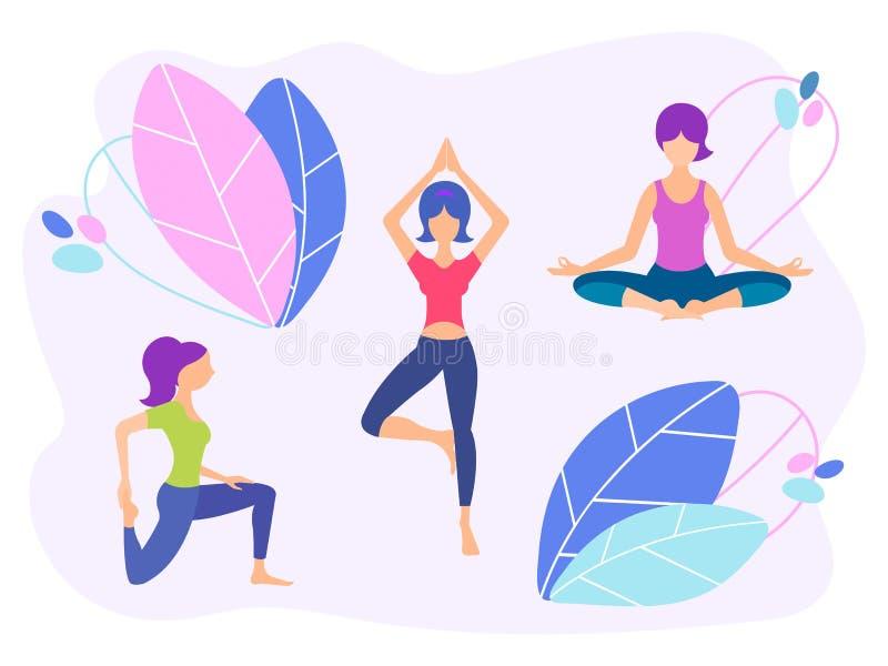 As meninas fazem a ioga, conceito saudável do estilo de vida, design floral ilustração do vetor