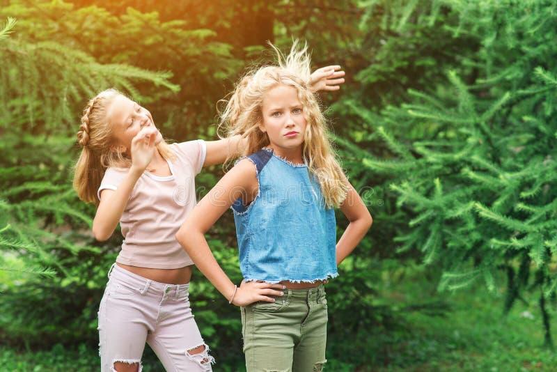 As meninas felizes dos gêmeos têm o divertimento junto em um parque fotografia de stock