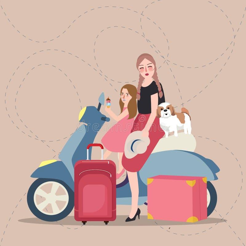 As meninas mamã e crianças que montam o 'trotinette' trazem o turista do saco ilustração do vetor