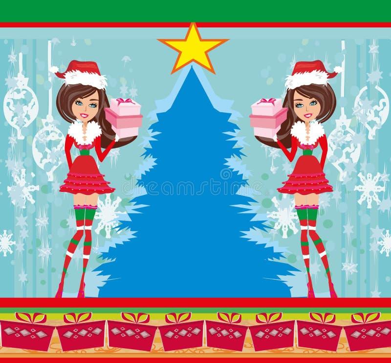 As meninas Pin-acima no Natal inspiraram o traje ilustração do vetor
