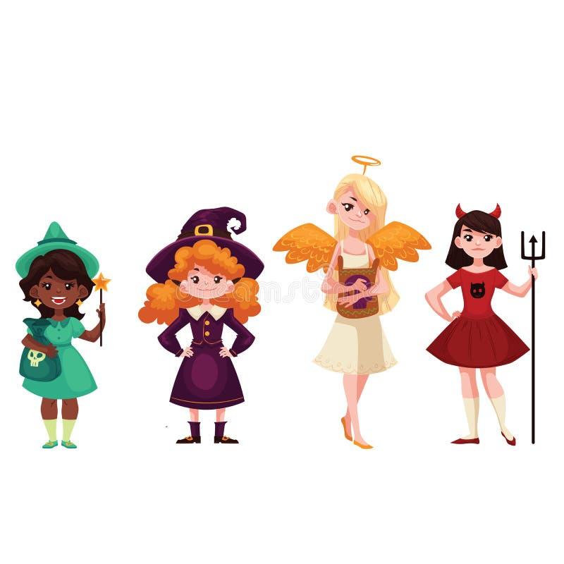 As meninas vestiram-se em trajes do duende do demônio do anjo da bruxa para Dia das Bruxas ilustração stock