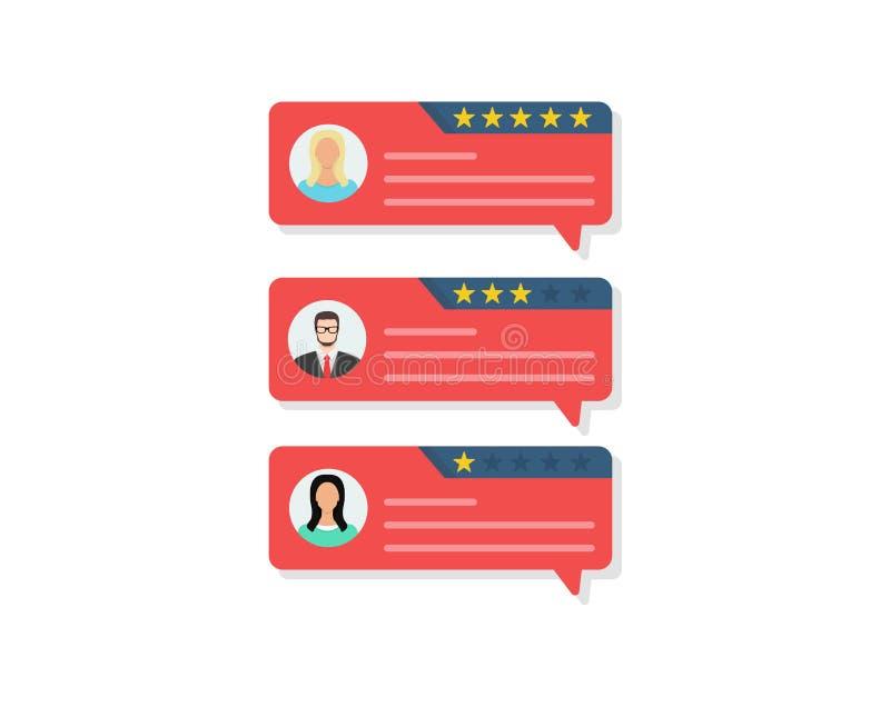 As mensagens da avaliação da revisão do cliente, as revisões em linha ou as homenagens do cliente, feedback, avaliação stars Proj ilustração royalty free