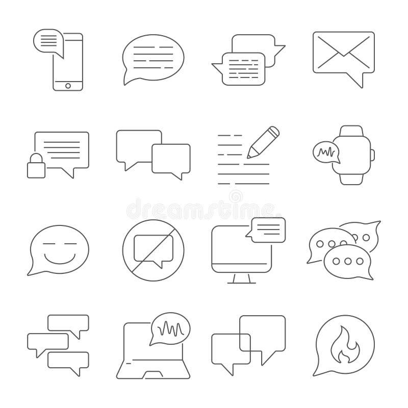 As mensagens e os bate-papos alinham o grupo dos ícones Ícones lineares do diálogo e da comunicação As bolhas do discurso esboçam ilustração do vetor